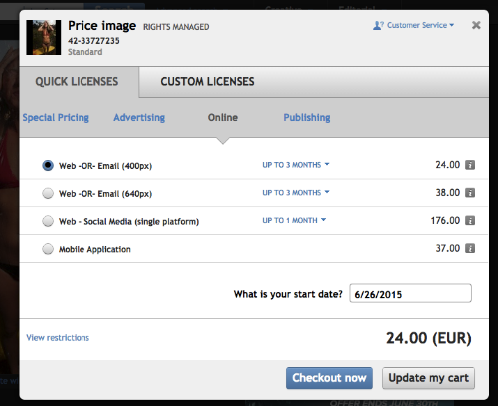 Corbis - cena za fotku