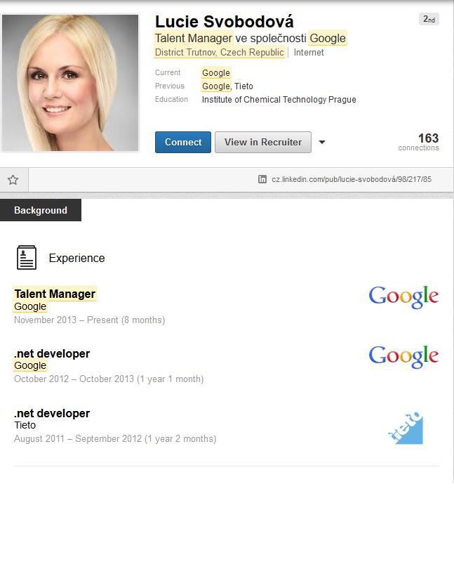 Lucka Svobodová je jedna z nejznámějších HRek na Googlu, jen ji ještě nikdo neviděl osobně