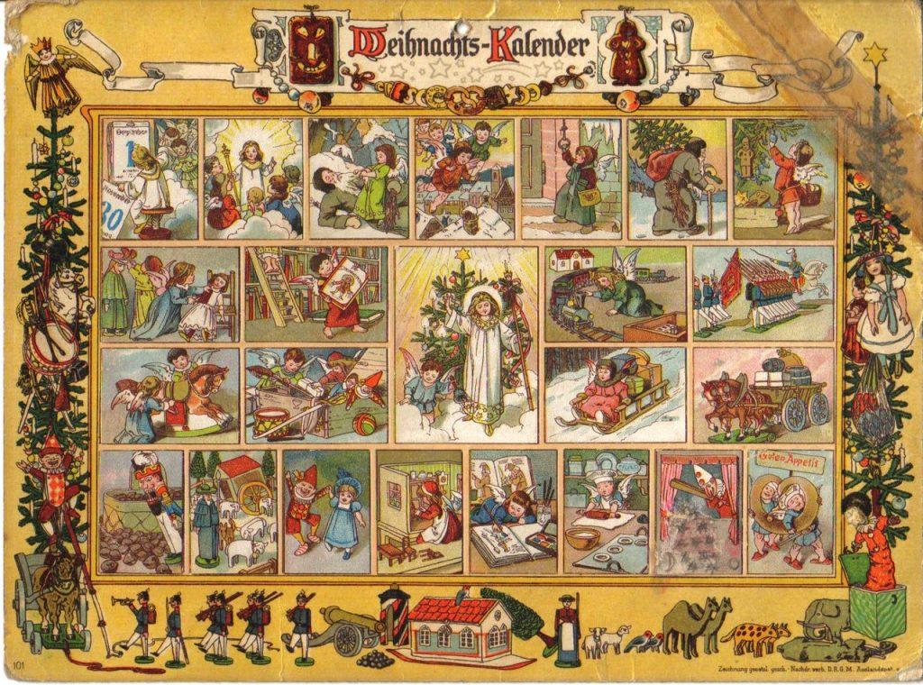 Adventní kalendář z roku 1903 s názvem Im Lande des Christkinds (česky V Ježíškově zemi). Ježíšek je vyobrazen jako blonďaté dítě v bílém rouchu s hvězdou na čele a svatozáří kolem hlavy