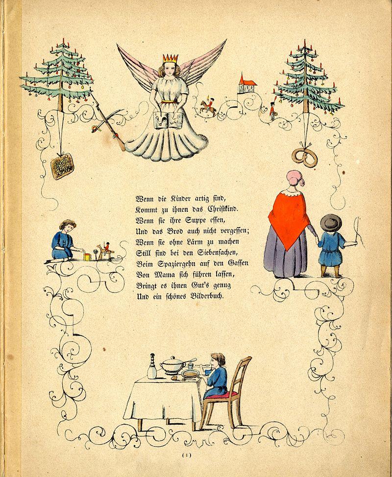 Ilustrace Ježíška jako andělského stvoření s korunkou na hlavě v německé dětské knize od Heinricha Hoffmanna Struwwelpeter (česky Střapatý Petr) z roku 1845