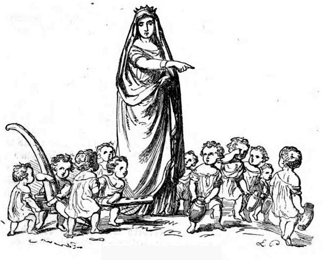 """Ilustrace z knihy """"Das festliche Jahr in Sitten, Gebräuchen und Festen der germanischen Völker"""" (Sváteční rok ve zvyklostech, obyčejích a svátcích germánských národů) – Frau Holle und die Heimchen (Paní Holle a cvrčci), 1863"""