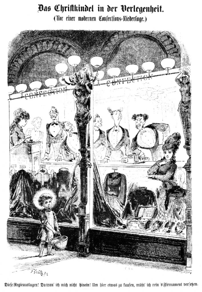 Karikatura nazvaná Ježíšek v rozpacích (Das Christkindel in der Verlegenheit) před vánoční výlohou od autora Friedricha Grätze z roku 1872